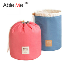 2016 New Makeup Organizer Storage Box Barrel Shaped Travel Organizer Big Capacity Drawstring Bags Necessaire Women Cosmetic Bag