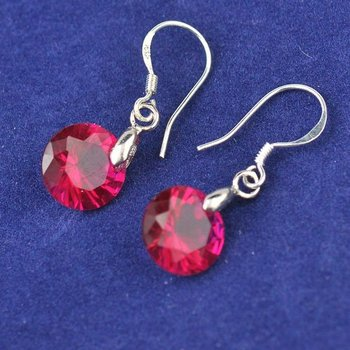 Free shipping dark red 925 silver jewelry fashion cubic zircon silver 925 Sterling Silver Hook earring Nice Handmade Accessory