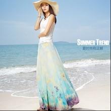 2015 Summer women's high quality bohemian high waist skirt small fresh print ruffles skirt floor-length long chiffon skirt