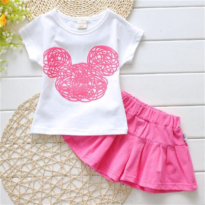 16 New Cute Girls Kids Clothes Sets Outfits Toddler Kids Minnie Mouse T-shirt + Shorts 2pcs Ca(China (Mainland))