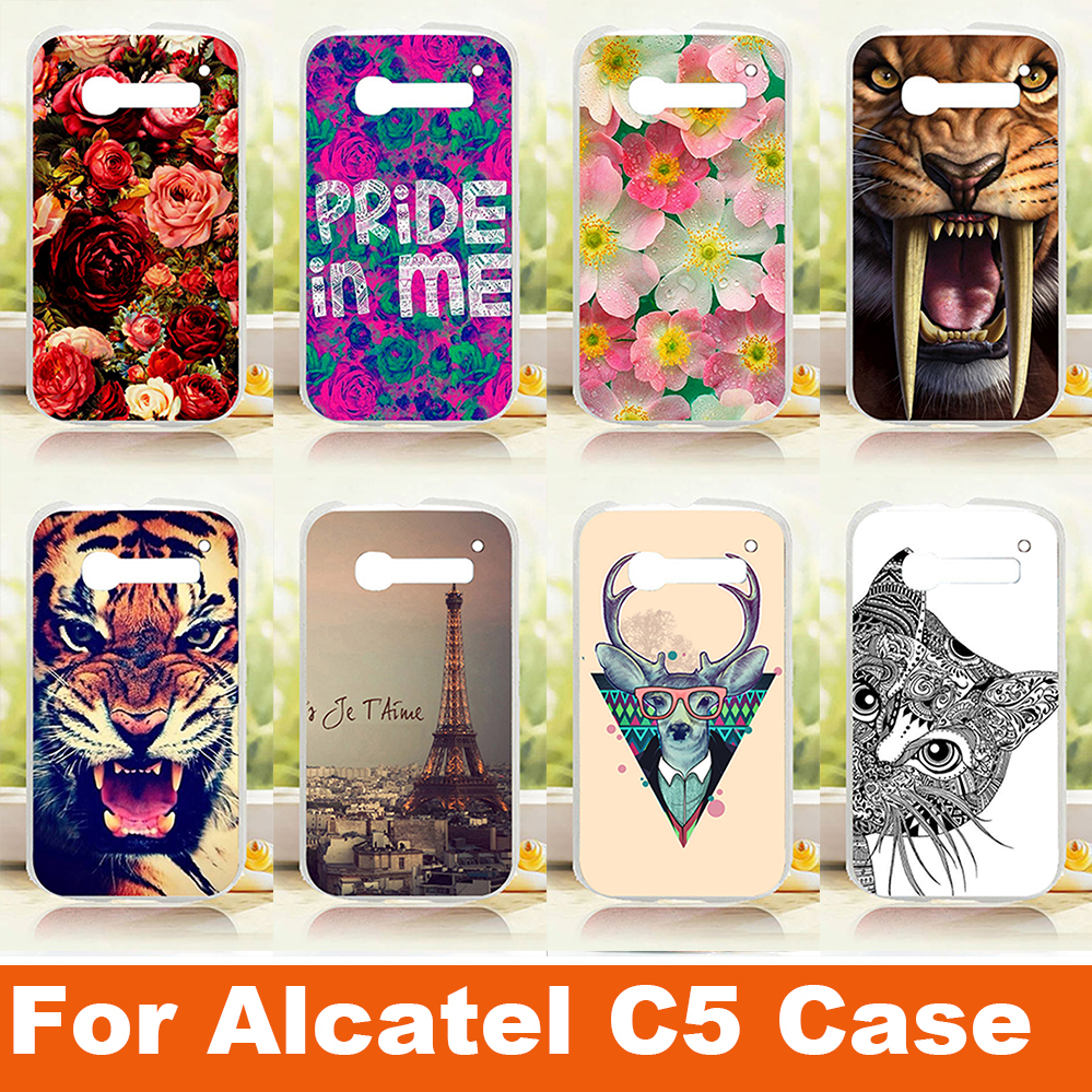 2015 New Painting animals flowers Hard PC Plastic Phone skin sheer Case cover For Alcatel One Touch Pop C5 5036 OT5036 5036D(China (Mainland))