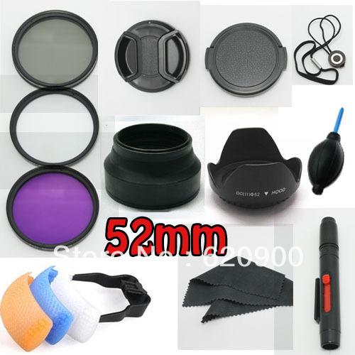100% Professional  52MM Filter CPL+UV+FLD Set + Lens Hood + Cap + Cleaning Kit for Nikon D3200 D3100 D5100