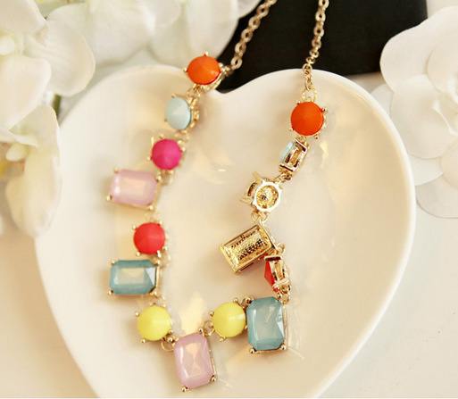 Wholesale Exemption From Postage Candy colored imitation jewel Choker Necklace(China (Mainland))