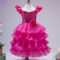 New Arrivals 2016 Kids Birthday Girl Dress Cute Sequin Puff Sleeve Princess Bowknot Dress Baby Dresses