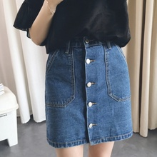 Buy 2017 Women Mini Skirts High Waist Sexy Summer Style Womens Pockets Blue Single Breasted Denim A-Line Skirt for $8.81 in AliExpress store