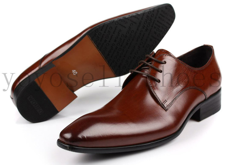 Fashion 2016 new brown tan mens business shoes genuine leather wedding shoes pointed toe man dress shoes free shipping(China (Mainland))