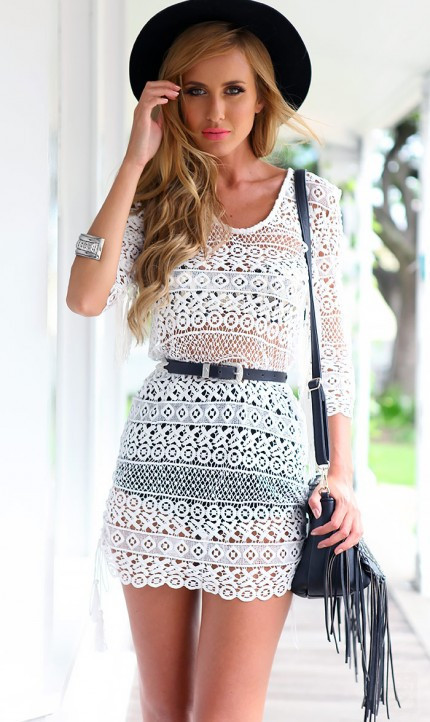 Summer hollow out bodycon women dress patchwork white mesh backless