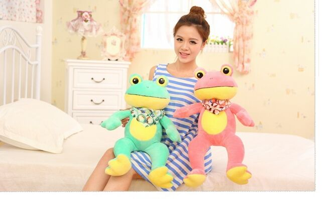 Valentine's Day scarf frog plush toy, cartoon frog large 50cm soft throw pillow ,birthday gift w5251(China (Mainland))