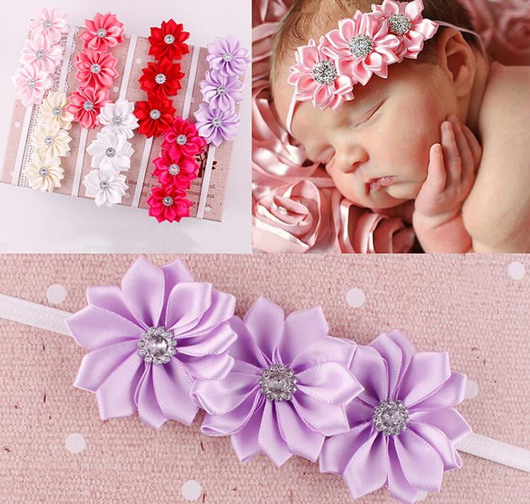 7 Colors Elastic hair band Headwear Baby photographed props 2 layer with diamond Polyhedrosis flower hair accessories(China (Mainland))