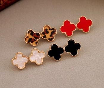 2013 new Korean jewelry wholesale Four grass leaves heart-shaped earrings female models