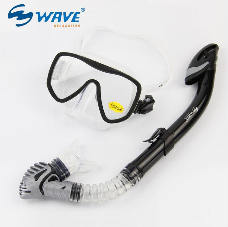 Genuine WAVE Unisex Professional diving suit Snorke Dry Breathing Tube Scuba Toughened Glass Diving Mask mascara de mergulho(China (Mainland))