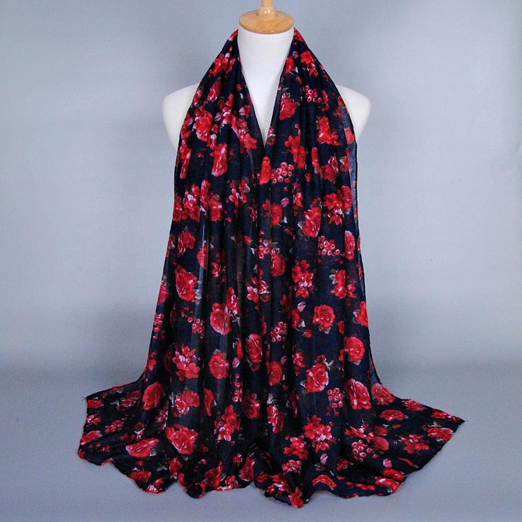 hot selling printe flower fashion viscose voile shawls headband multicolor popular hijab wrap muslim scarves/scarf 10pcs/lot