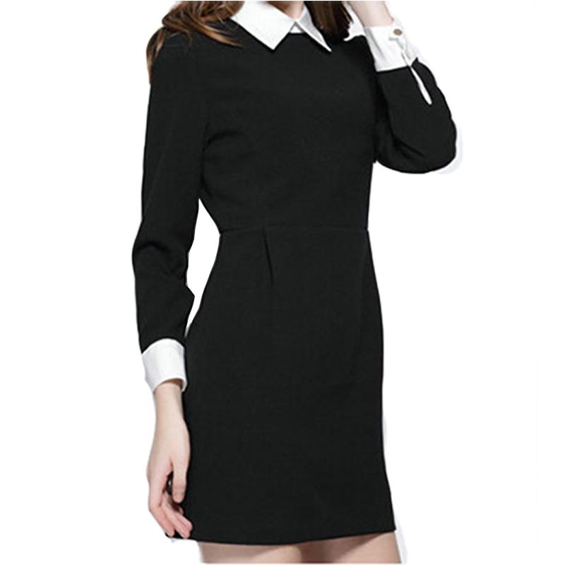 черное платье с белым воротником фото