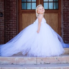 swallow-tailed solid  white baby bridesmaid flower girl wedding dress tulle fluffy ball gown birthday evening party tutu dress