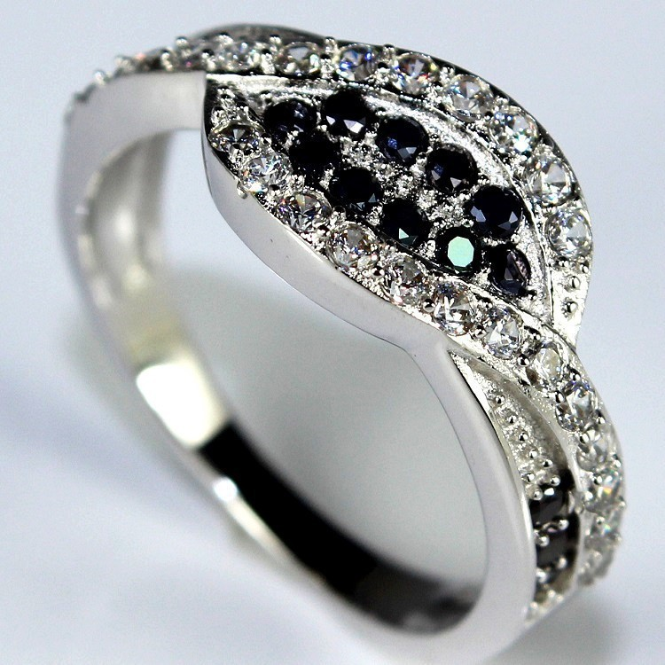 Black and White Crystal Female Silver Engagement Rings Anel Vintage Womens Je