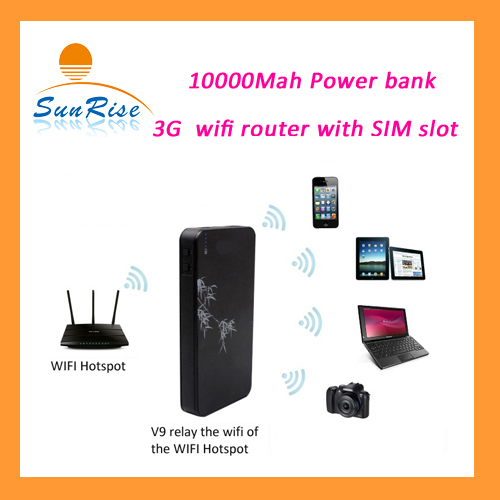 EVDO/WCDMA wifi Repeater 10000mAh Power Bank 3G WIFI Router Mobile wifi Hospot Wireless Router RJ45 port with SIM Card Slot(China (Mainland))