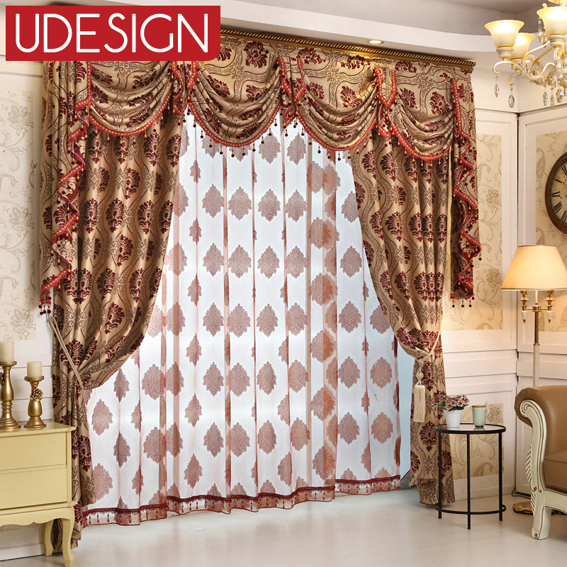 European Thick Blackout Curtains for Living Room Beaded Tulle Curtains Window Blinds Drapes Lace Luxury curtains valance