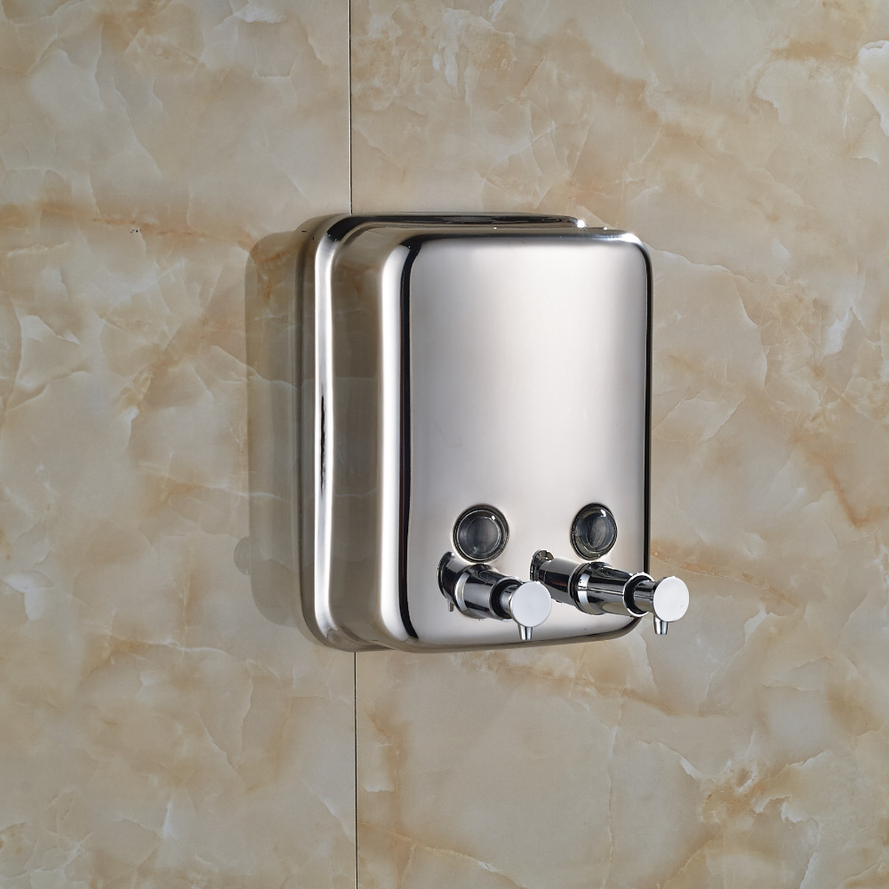 Wholesale And Retail Wall Mount Double Hand Soap Dispenser Stainless Steel Bathroom & Kitchen Sink Liquid Soap Container 1000ML(China (Mainland))