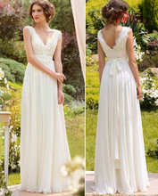 Buy Hot Sale Wedding Dresses 2017 A-line Floor-Length V-neck Sleeveless Chiffon Applique Beach Bridal Gowns Custom Made WD06 for $124.68 in AliExpress store