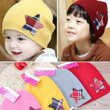 gorro baby beanie baby boy hats caps,patchwork star logo hats for children,new born photography props for 0-2 years old kids(China (Mainland))