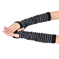 Good looking Women Ladies Knitted Elbow Length Winter Fingerless Gloves Stripe Mitten Christmas Gifts