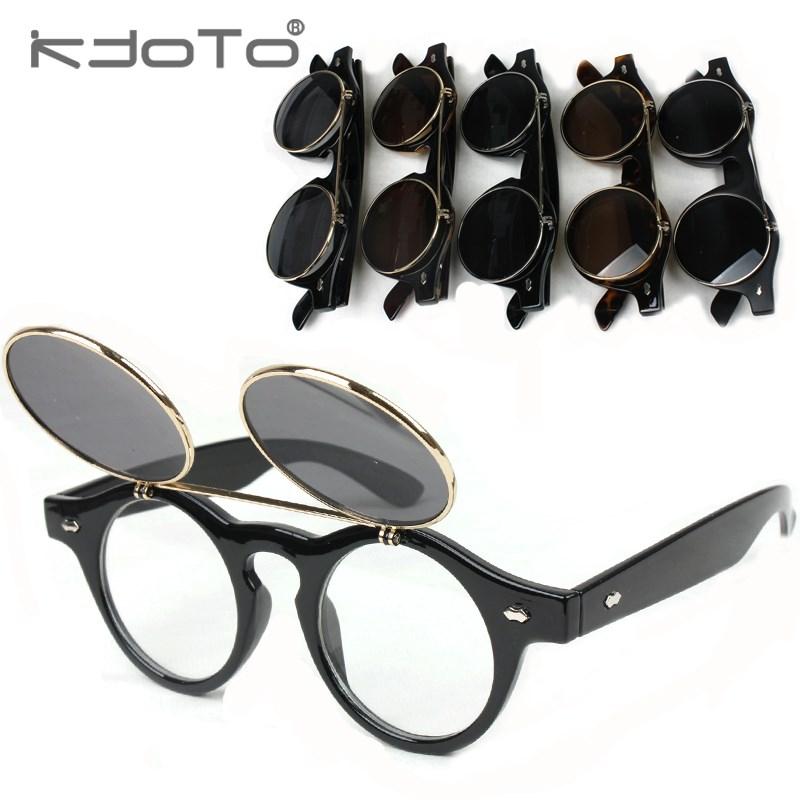 Fashion vintage circle double layer flip sunglasses Women steam punk round box sun glasses male - DIDI IPstore store