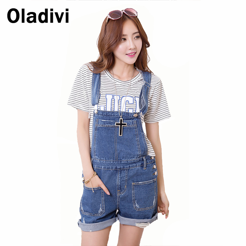 Fashion Personalized Denim Bib Pants Jumpsuit Vintage Women Blue Shorts Female Jeans Short Overalls Casual Lady Button Trousers(China (Mainland))