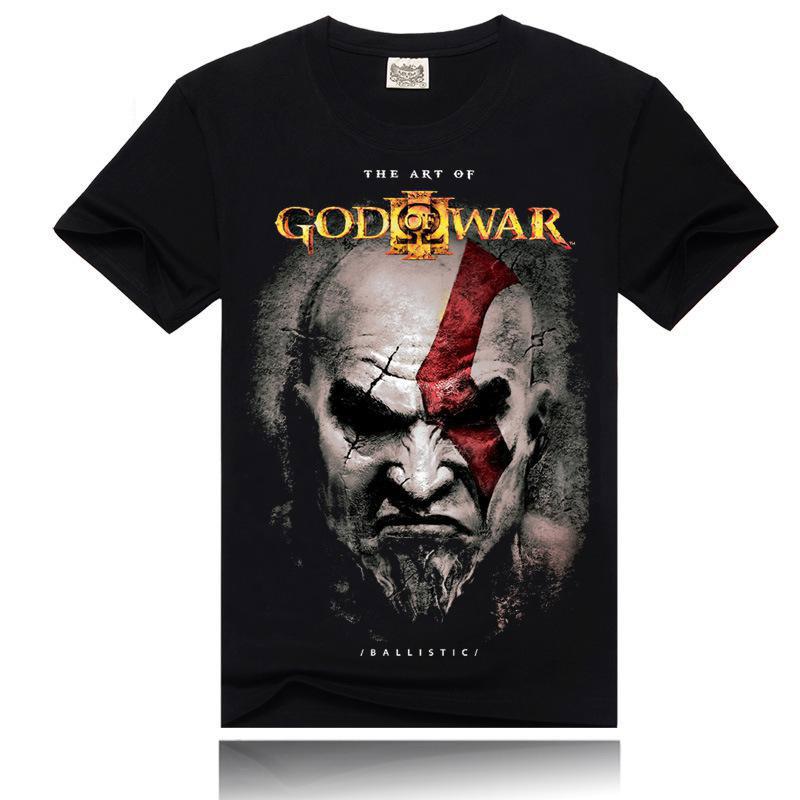 God of War T-shirts 3D Pattern Cotton Black Short Sleeve O-Neck Soft Tee Shirts Tops Clothing(China (Mainland))