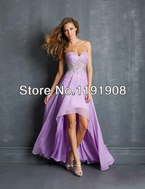 2015 Sweetheart High Low Prom Dresses Light Purple Lavender/Lilac Shiny Beaded Sequin Crystals Chiffon Corset Cheap Evening Gown(China (Mainland))