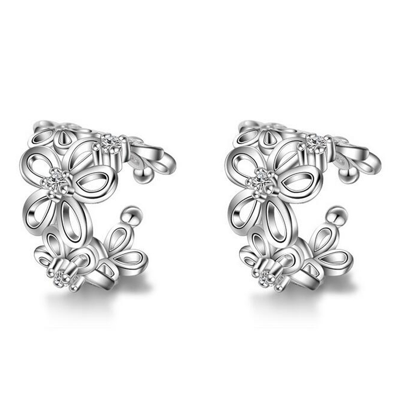 JEXXI Fashion Crystal Butterfly Flower Clip Earring Ear Cuff Earring Cuff Punk Small Flower Hollow Charm Clip Earrings Wholesale(China (Mainland))