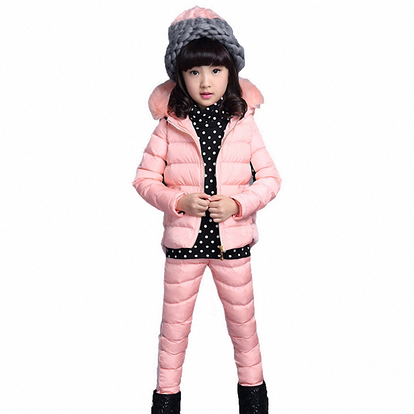 2015 Children Warm Girls Winter Clothes Of Cotton  Three-piece Girls Clothing Sets Vetement Enfant Fille Girls Winter Clothes