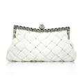 AUAU Elegant Ladies White Satin Bridal Evening Prom Clutch Handbag Purse Gift