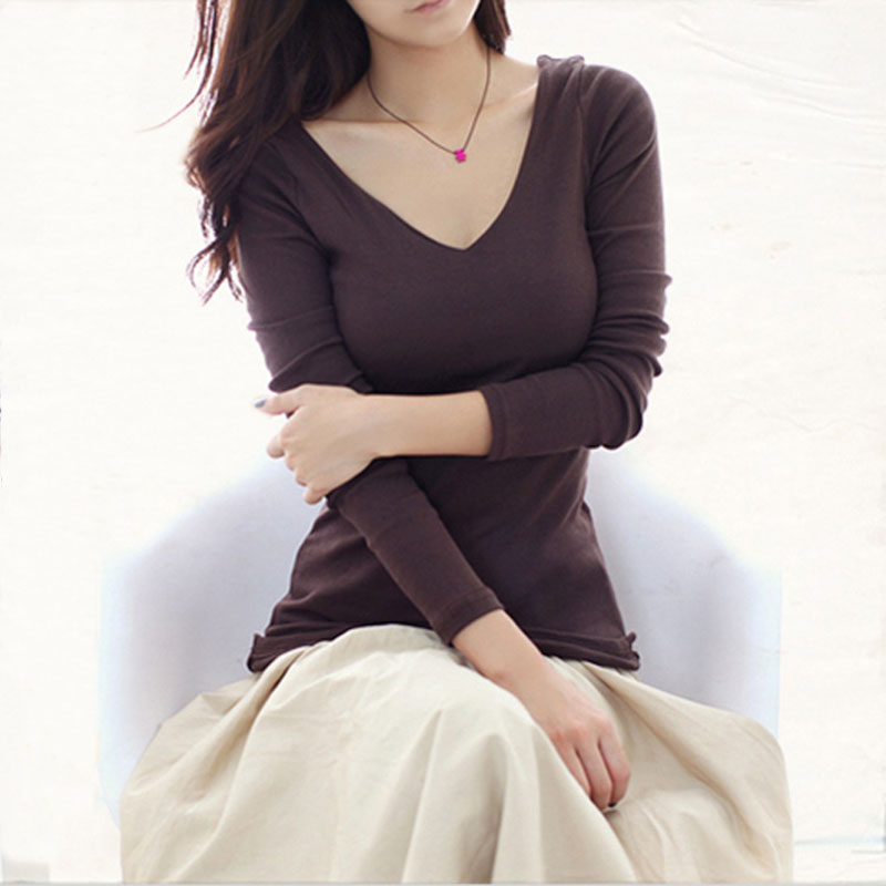 Basic clothing solid color v neck long sleeve t shirt for Plain colored v neck t shirts