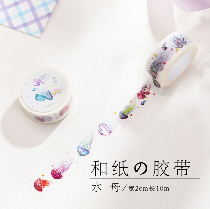 2CM Wide Cute Colorful Jellyfish Washi Tape Adhesive Tape DIY Scrapbooking Sticker Label Masking Tape<br><br>Aliexpress
