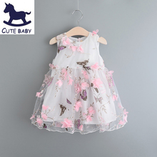 New Girls Dresses Flower Christening Wedding Party Pageant Dress Bridesmaid Clothing Baby Evening gown for Children 2-8Years