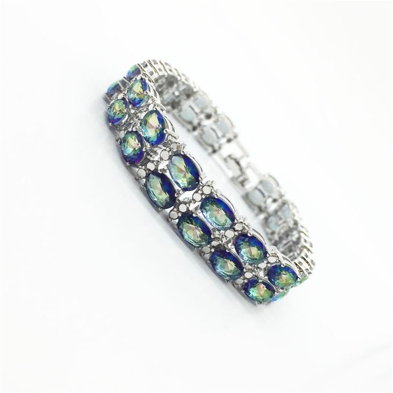 Women Fashion Jewelry Bracelets Charm Design Gold Filled Sapphire Blue Rainbow Mystic TopazColor AAA Zircon Stone High Quality(China (Mainland))