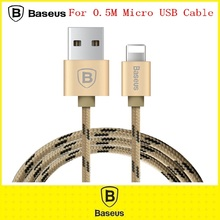 Original Baseus 0.5M Colorful Metal Nylon Mobile Phone Cables Charging USB Date Cable Plug Micro USB Cable for iphone/IOS7/8/9