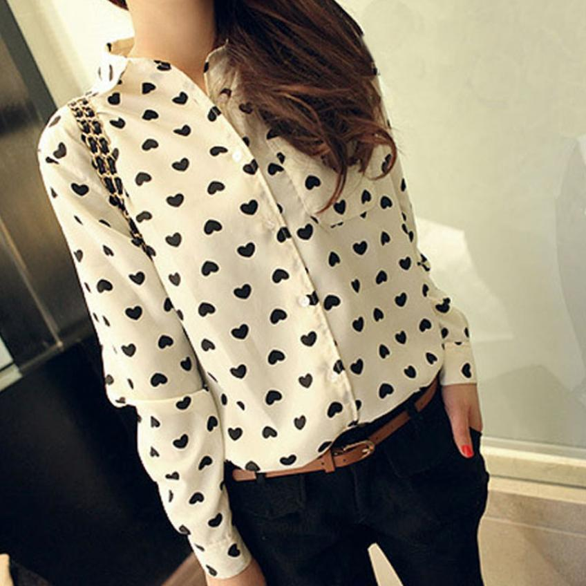 Stylish 2015 European Women's S-L Long Sleeve Shirt Chiffon Workwear Love Heart Sweet Casual Blouse for lady blusas femininas
