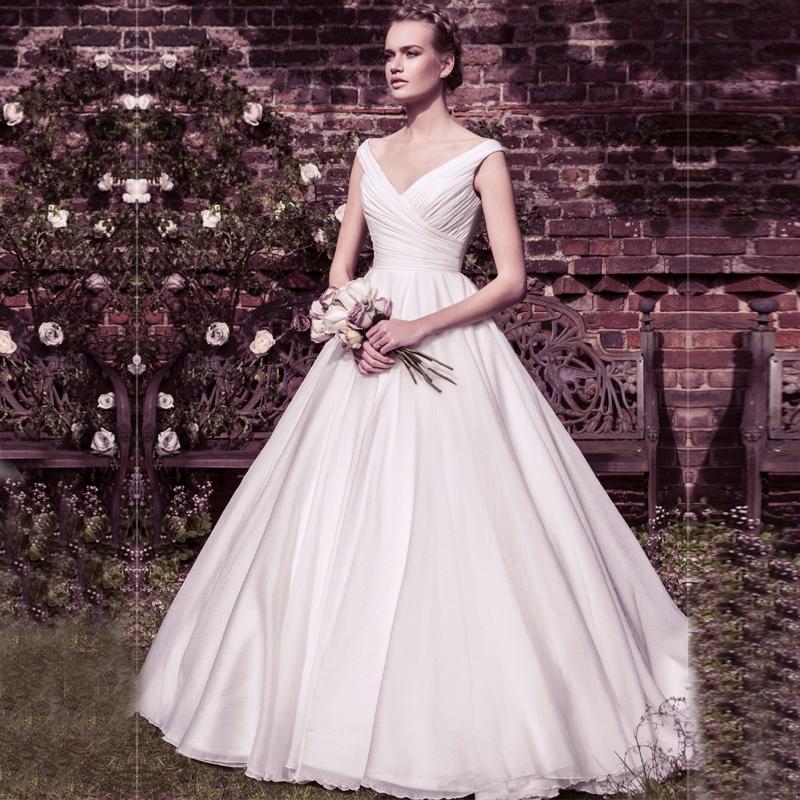 2016 новый простой бальное платье V шеи рукавов раффлед vestido де noiva халат де свадебная белый свадебные платья с зашнуровать назад