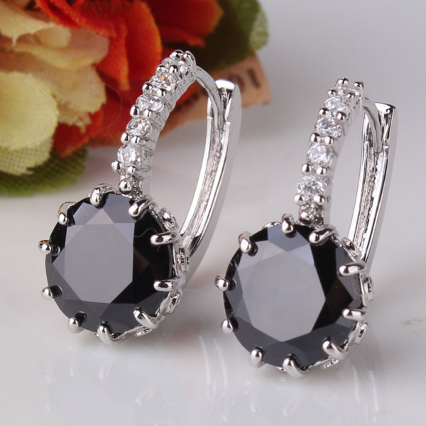 2014 Hot Selling 18K White Gold Plated Hoop Earring Black Zircon Crystal Huggies Earring For Women Wholesale Free shipping E005b(China (Mainland))