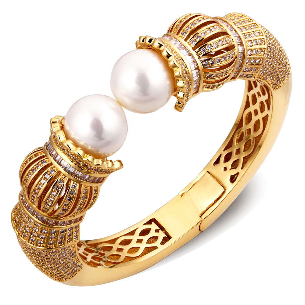 New Look AAA Cubic Zirconia Women Luxury Pearl Bangles Real Gold Plated Wedding Bangle Free Allergy Cadmium Free(China (Mainland))