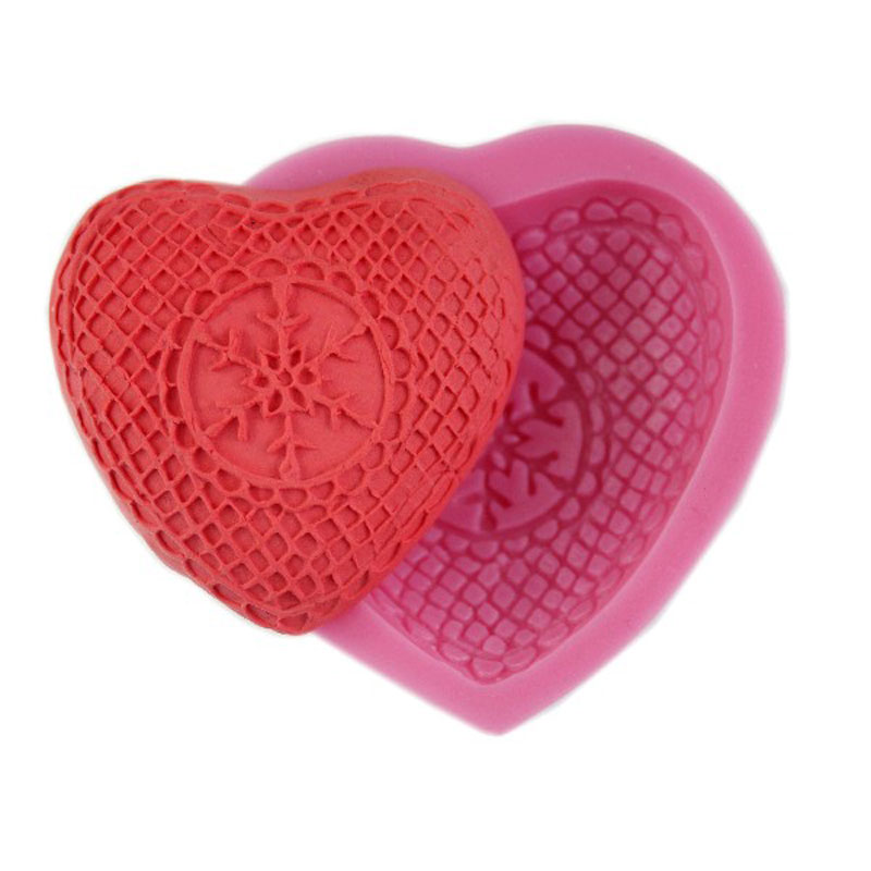 Free Shipping Silicone Love Snow Heart Shaped Turn Sugar Chocolate Mold Baking Cake Pastry Pudding Soap Mould Tools 50-08(China (Mainland))