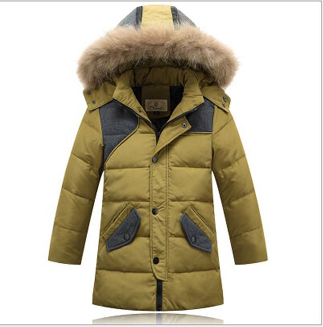2016 зимние мальчики белая утка вниз jakcet утолщаются куртки мальчика пальто мужской пиджак большая детская одежда верхняя одежда с капюшоном воротник