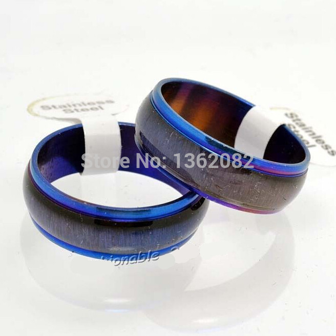 Fashion Jewelry Unisex Stainless Steel Blue Cat's Eye Rings Bands Men Women's Gift YR44(China (Mainland))