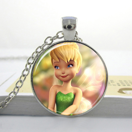 1pc free shipping Cute Tinkerbell Pendant Fairy Dust Jewelry Silver Tinker bell Necklace Kids gifts(China (Mainland))