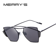 MERRY'S 2016 New WomenClassic Brand Designer Twin-Beams Sunglasses Vintage Sunglasses Coating Mirror Flat Panel Lens S'8036