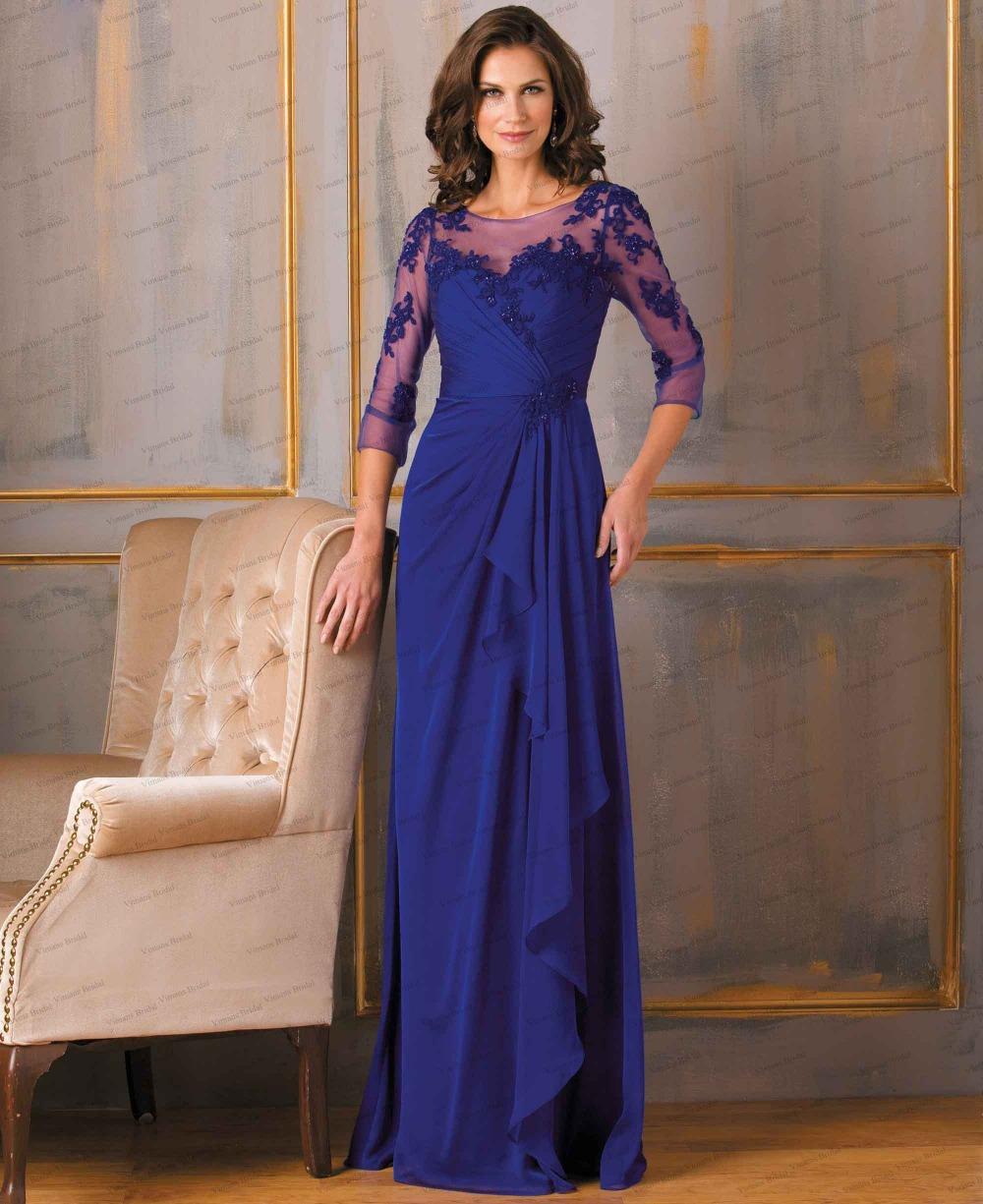 Mother Bride Dresses Sale: 2015 Hot Sale O Neck Appliqued Long Chiffon Backless