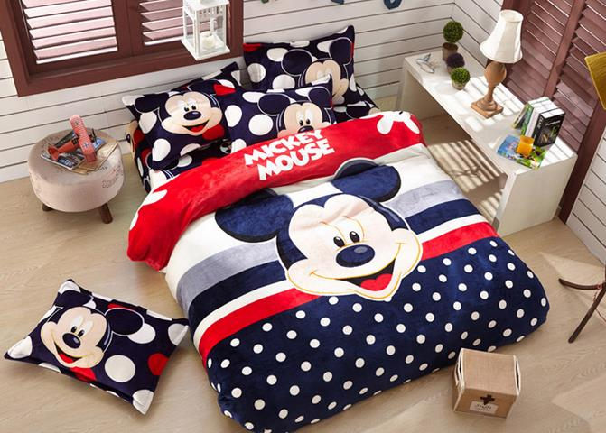 Free shipping Winter thick warm bed covers and comforters 4 pcs Mickey flannel bedding set liliya(China (Mainland))