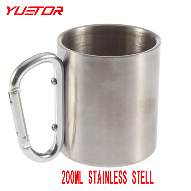 Brand YUETOR 200ML Stainless Steel Camping Cup Double Wall Carabiner Hook Mug Portable Outdoor Tablewares(China (Mainland))