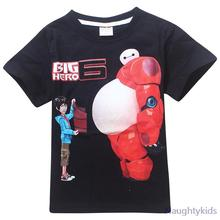 2015 hot sale boy t shirt baymax shirt big hero 6 black blue summer shirt boy